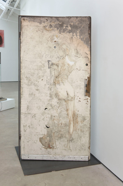 Dirk Bell, Phedra, 2011, Burnt door with pencil, dirt, leather, oil, paint, steel frame, ceramic and wax found object, 200 x 100 x 104