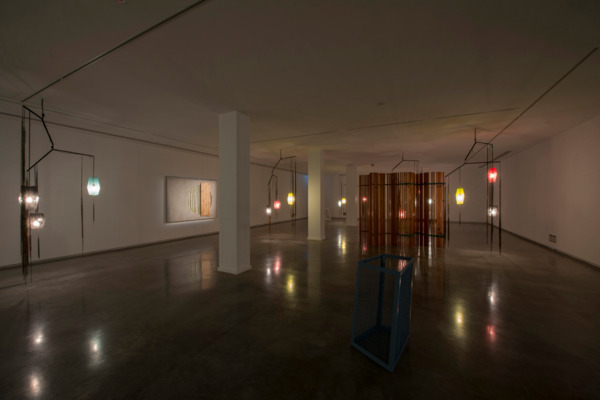 Martin Boyce, Last Light, 2014, Jesmonite, painted steel, wood, zinc plated steel, chain, rusted steel, electrical components, Dimensions variable, Installation view, 'You Imagine What You Desire', Sydney Biennale, Sydney, 2014
