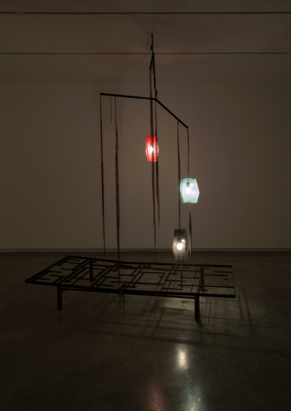 Martin Boyce, Nearby Shores, 2013, Painted and rusted steel, electrical components, Dimensions variable, Installation view, 'You Imagine What You Desire', Sydney Biennale, Sydney, 2014