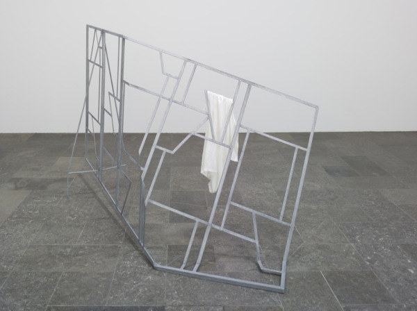Martin Boyce, Ghosts and Gravity, 2008, Screen - galvanised steel, fabric (t-shirt), 163 x 201 x 87 cm, Installation view, 'This Place is Close and Unfolded', Westfälischer Kunstverein, Münster, 2008