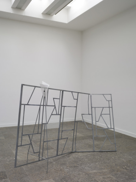 Martin Boyce, We shiver silver, 2008, Galvanised steel, painted steel, mask, 170 x 173 x 115 cm, Installation view, 'This Place is Close and Unfolded', Westfälischer Kunstverein, Münster, 2008