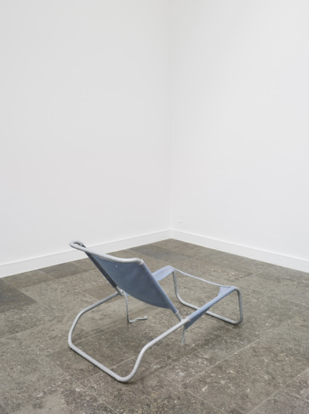 Martin Boyce, We Are Etched in The Air, 2008, Galvanised steel, blue fabric, Dimensions variable, Installation view, 'This Place is Close and Unfolded', Westfälischer Kunstverein, Münster, 2008
