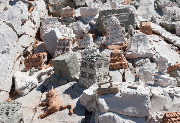 YES, 2011, Unfired clay, Dimensions variable, Installation view 'YES', DESTE Foundation Project Space, Hydra, 2013