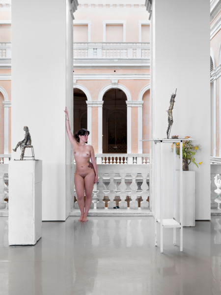 Urs Fischer and Georg Herold , Necrophonia, 2011, Patinated bronze, aluminum, acrylic paint, fabric, nude models, fresh flowers, Dimensions variable, Installation view 'Madam Fisscher', Palazzo Grassi, Venice, 2012
