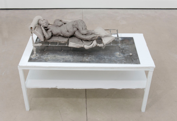 Urs Fischer and Georg Herold , Untitled, 2011, Eighteen clay sculptures, two sofas, models, dressing area and flowers, Dimensions variable