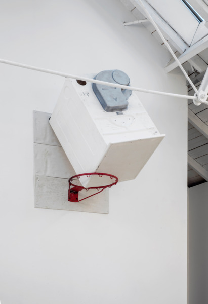 Richard Hughes, Hung up on a dream, 2014, Cast glass reinforced polyester, basketball hoop, 140 x 90 x 90 cm