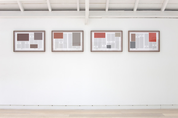 Averages (Abstract Paintings), 2011, 4 hand coated pigment prints, 43.18 x 66 cm each print