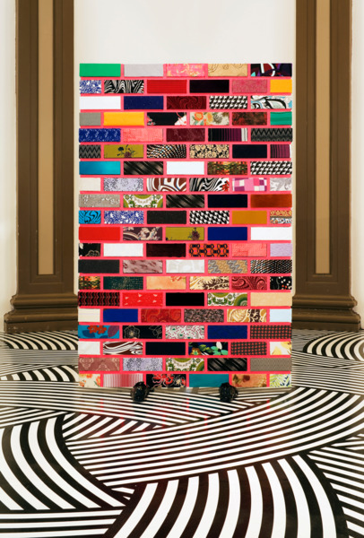 Jim Lambie, Get Back, 2008, Fabric, wood, training shoes, gloss paint, 193 x 125 x 70 cm, Installation view 'Forever Changes', Gallery of Modern Art, Glasgow, 2008