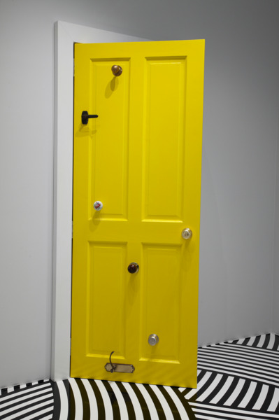 Jim Lambie, Plastic Ono, 2008, Wooden door, Gloss paint, door knobs, 210 x 95 x 62 cm, Installation view 'Unknown Pleasures', Hara Museum of Contemporary Art, Tokyo, 2008