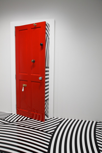 Jim Lambie, Maybelline, 2008, Wooden Door, gloss paint, door knobs, 210 x 95 x 30 cm, Installation view 'Unknown Pleasures', Hara Museum of Contemporary Art, Tokyo, 2008