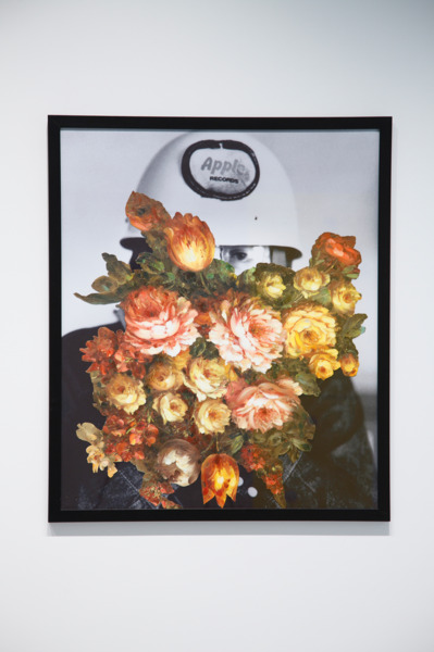 Jim Lambie, Found Flower Painting (John), 2008, Collage with oil painting and printed paper, 91 x 77 cm
