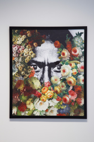 Jim Lambie, Found Flower Painting (Miles), 2008, Collage with oil painting and printed paper, 91 x 77 cm
