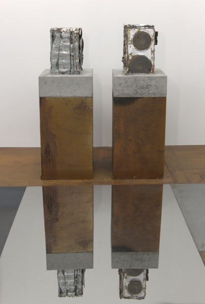 Jim Lambie, Knight Club, 2010, Crushed suit of armour with cooker set in concrete block, rusted steel plinth; crushed cooker set in concrete block, rusted steel plinth, 2 parts: 134 x 46 x 46 cm each