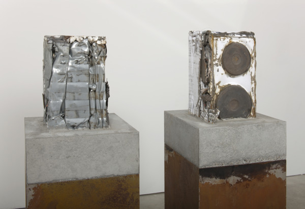 Jim Lambie, Knight Club (detail), 2010, Crushed suit of armour with cooker set in concrete block, rusted steel plinth; crushed cooker set in concrete block, rusted steel plinth, 2 parts: 134 x 46 x 46 cm each