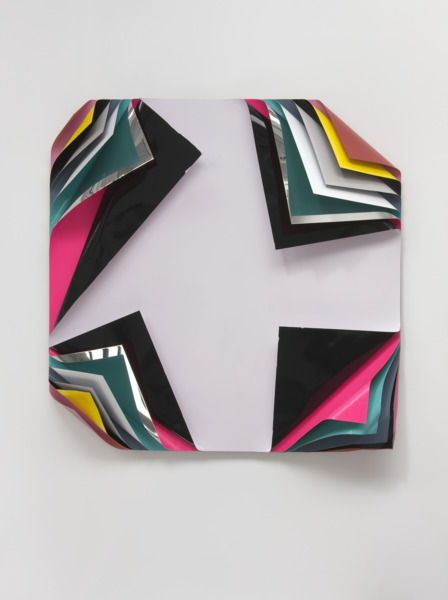 Jim Lambie, Metal Box, 2010, Aluminium and polished steel sheets, gloss paint and fluorescent paint, 150 x 150 x 33 cm