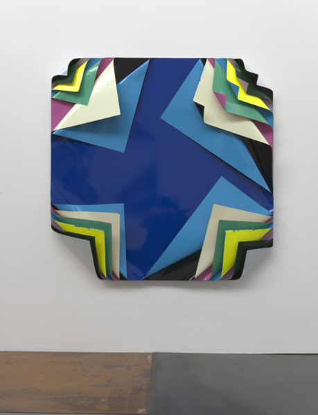 Jim Lambie, Metal Box, 2010, Aluminium sheets, gloss paint and fluorescent paint, 125 x 125 x 19 cm