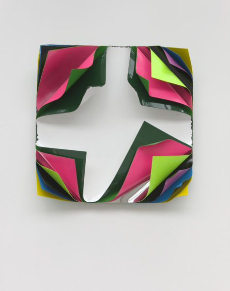 Jim Lambie, Metal Box, 2010, Aluminium and polished steel sheets, gloss paint and fluorescent paint, 62.5 x 62.5 x 22 cm