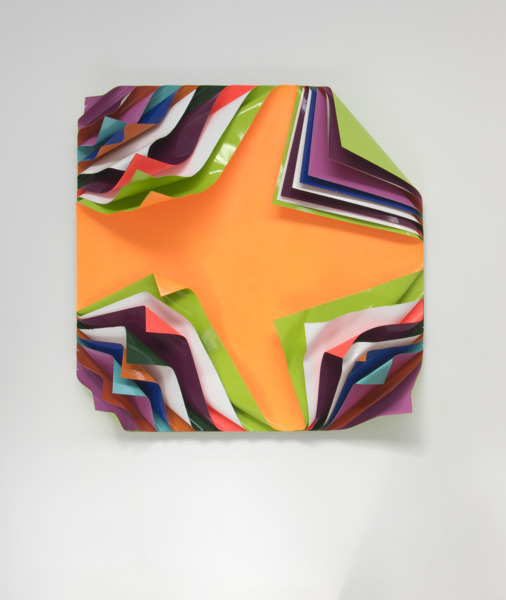 Jim Lambie, Metal Box, 2010, Aluminium sheets, gloss paint and fluorescent paint, 125 x 125 x 35 cm