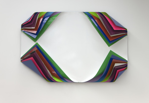Jim Lambie, Metal Box, 2010, Aluminium and polished steel sheets, gloss paint and fluorescent paint, 125 x 187.5 x 27 cm