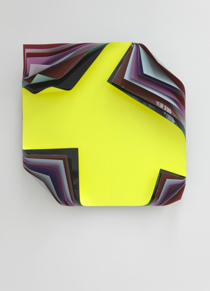 Jim Lambie, Metal Box, 2010, Aluminium sheets and fluorescent paint, 62.5 x 62.5 x 16 cm