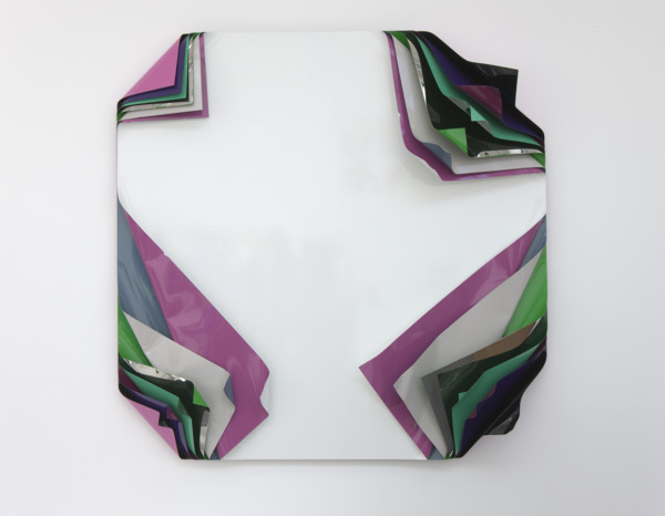 Jim Lambie, Metal Box, 2010, Aluminium and polished steel sheets, gloss paint, 159 x 150 x 27 cm