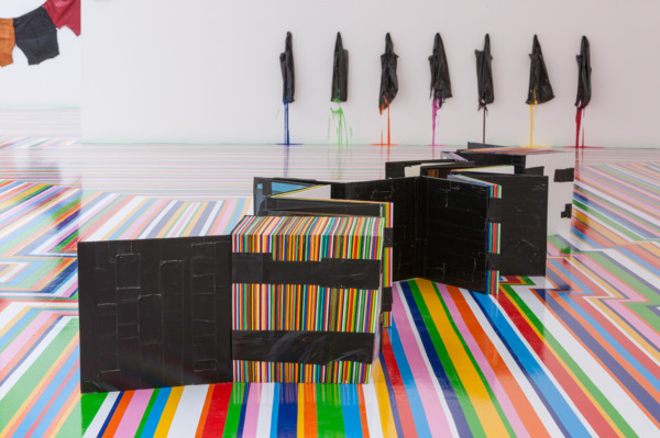 Jim Lambie, Stakka, 2000, Record sleeves, tape, acrylic paint, 31 x 348 x 89 cm, Installation view, Fruitmarket Gallery, Edinburgh, 2014