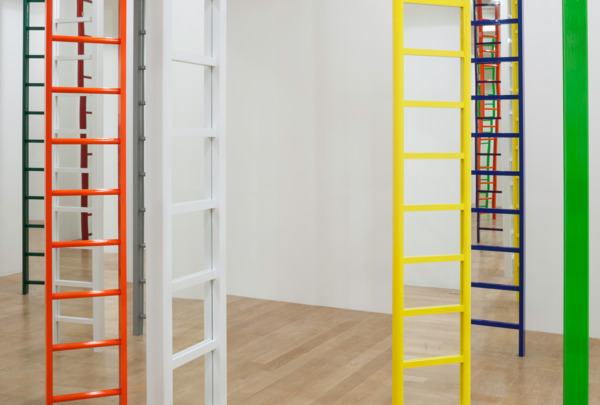 Jim Lambie, Shaved Ice, 2012/2014, Wooden ladders, mirrors, household matt, gloss and fluorescent paint, 32 ladders; dimensions variable, Installation view, Fruitmarket Gallery, Edinburgh, 2014