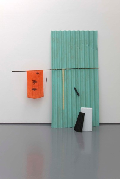 Hutong Noons, 2010, Corrugated bitumen, bamboo, turmeric dyed silk yarn, flat cane, turmeric dyed linen yarn, wooden rods, brass rod, paint and ink, 202 x 102.5 x 62 cm