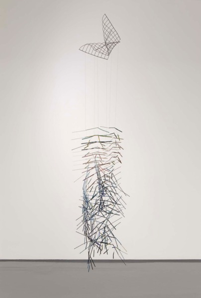 Indigo Fold, 2010, Metal grill, paint, linen thread, silk thread, umbrella spokes and wire, 3500 x 65 x 60 cm