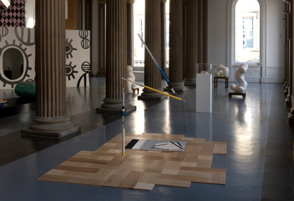 Dandelion Shift, 2011, Oak, ash, iroko, beeswax, Axminster wool, rug canvas, linen, cotton tape, upholstery thread, acrylic rods, monofilament, 200 x 300 x 250 cm