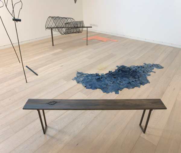 Low Block Seasonal, 2012, Bamboo, linen yarn, paint, oak, plastic covered metal, beeswax, steel mesh, nails, linen thread, indigo dyed jute, denim, paper covered wire, board, Dimensions variable