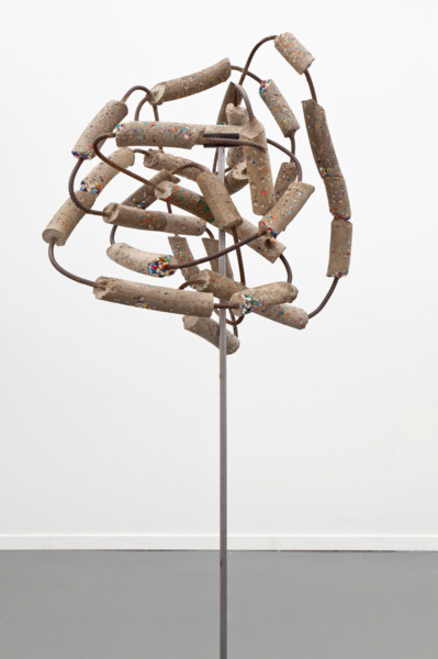 Atomic, 2013, Steel, concrete, stones, wax, 213 x 70 x 63 cm