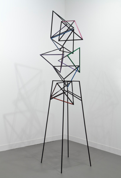 Tumbling Dice IV, 2014, Powder coated steel, enamel paint, 239 x 56 x 66 cm