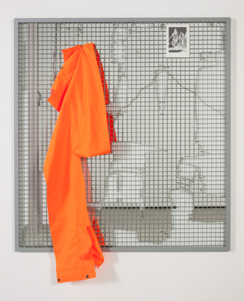 Real Abstraction (mirror) 8, 2014, Cutting showing an image of a mountain, section of a high visibility jacket. blackboard paint, beeswax, 154 x 123 x 12 cm