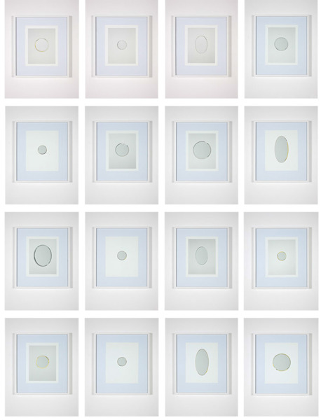 After Lichtenstein 1-16, 2012, 16 pieces, catalogue page, etched mirror, 43 x 50 x 3.5 cm