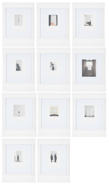 After Pistoletto (Catalogue 2), 2013 (full set), 11 framed works: Catalogue page, etched mirror, Each 50 x 43 x 3.5 cm