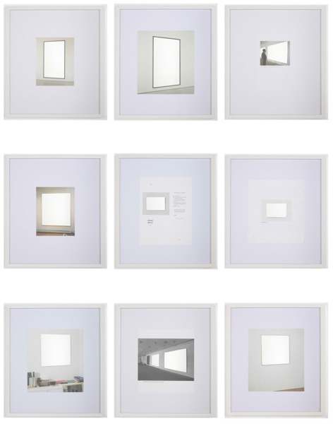 After Richter 1- 9, 2011, 9 pieces, etched mirror, catalogue page, 43 x 50 x 3.5 cm