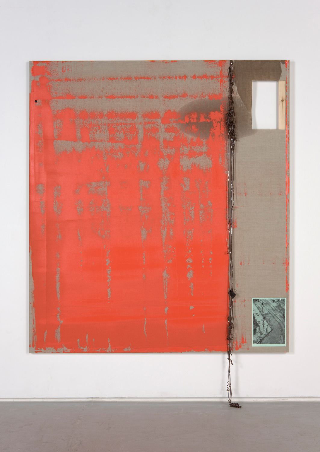 Dresden 5, 2012, Acrylic, beeswax, oil, string, digital print with verdigris, card, cellophane, button, audio-tape on linen, 190 x 170 x 3 cm