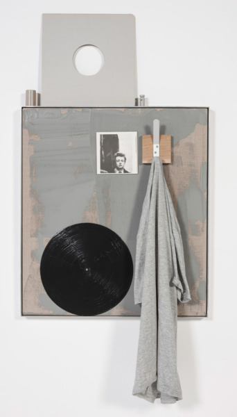 Grey monochrome, still no hacienda, 2014, Acrylic on canvas, painted vinyl, oak, coat peg, t shirt, record sleeve, reflective tape, barrel cord lock, cutting (Ivan Chetglov), aluminium frame, 135 x 62 x 10 cm