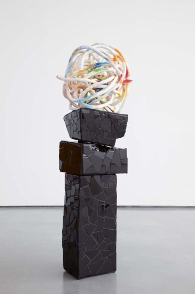 Hot Touch, 2008, Plaster bandage, aluminium wire, spray paint, polystyrene, ceramic tiles, grout, 153 x 46 x 46 cm