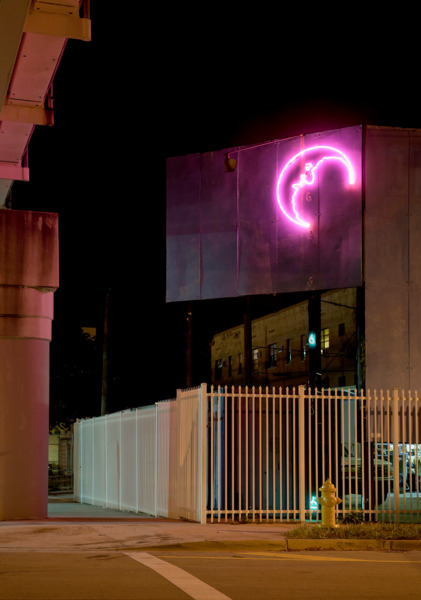 Weeping Moon, 2010, Neon, 580 x 140 x 3 cm, Edition of 3, Exterior view 'Rolling Stop', Museum of Contemporary Art, North Miami, 2011