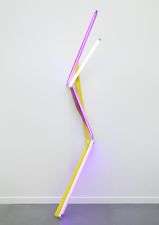 White Violets, 2015, Fluorescent light fixtures, colour gels, aluminum, hardwood and paint, 274.3 cm high