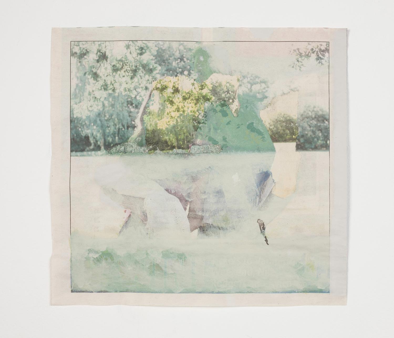 Untitled, 2014, Acrylic on pieced newspaper, 20 x 21 cm