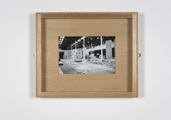Untitled (Tramway), 2005, Black and white photograph, handmade plywood frame, brass mirror plates, 61 x 73 x 7 cm