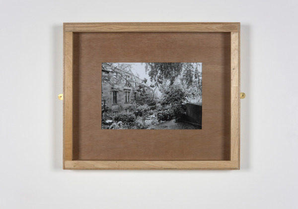 Untitled (Kelvinside Terrace), 2010, Plywood, glass, brass mirror plates, B&W photograph, 60.5 x 72.5 x 6.5 cm
