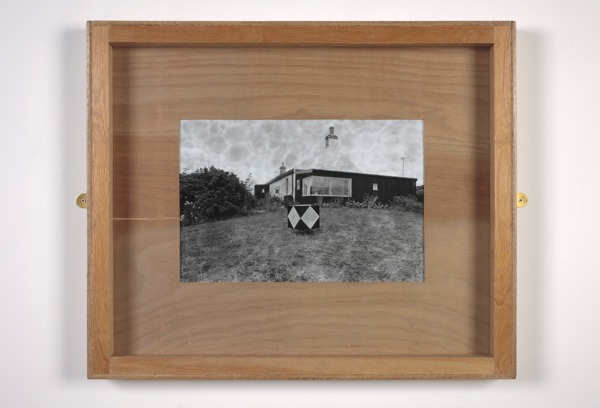 Untitled (The Watchie), 2013, Black and white photograph, handmade painted plywood frame, brass mirror plates, 61 x 73 x 7 cm