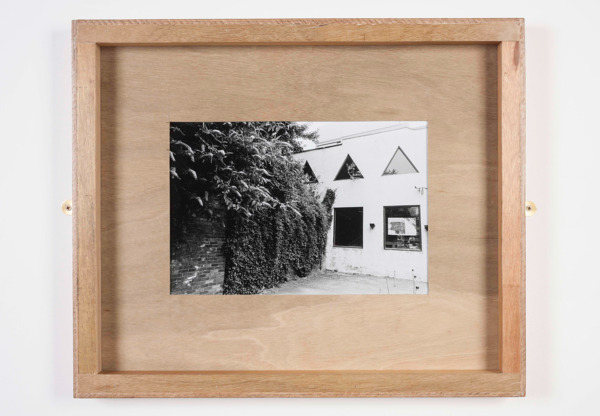 Untitled (Close), 2013, Plywood, glass, brass mirror plates, B&W photograph, 60.5 x 72.5 x 6.5 cm