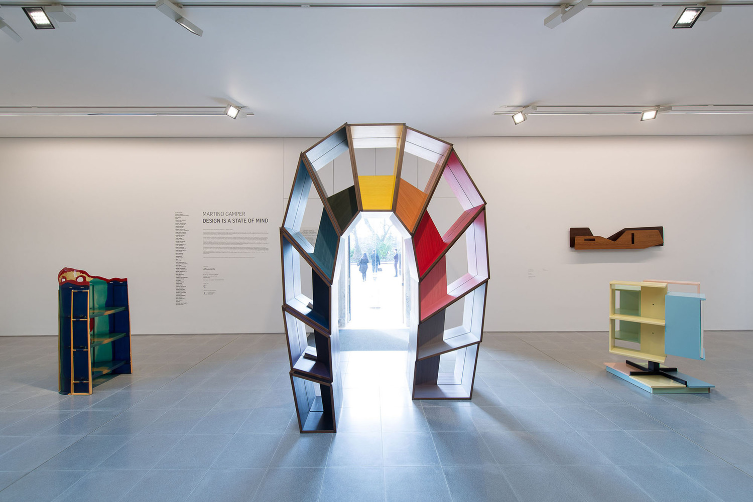 Martino Gamper, L'arco della Pace, 2014, Coloured veneer, poplar plywood, 310 x 210 x 110 cm, Installation view 'Martino Gamper: Design is a State of Mind', Serpentine Sackler Gallery, London, 2014