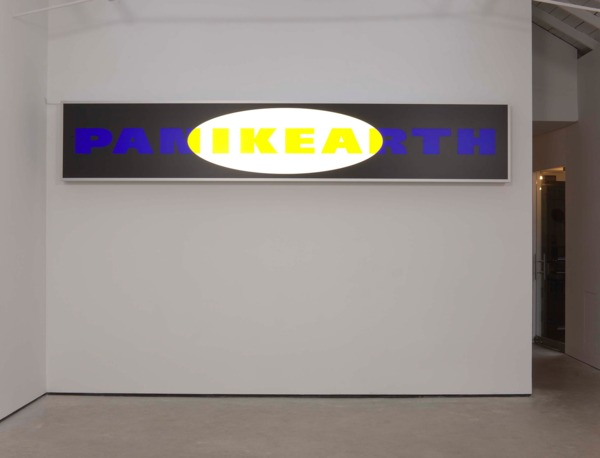 Dirk Bell, PANIKEARTH, 2010, Light box, foil (black, yellow, blue, white), 71.5 x 400 x 19 cm