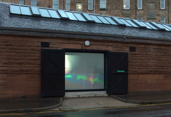 Dirk Bell, Untitled, 2010, Car including a video animation inside, on a LCD monitor, and light effects, Dimensions variable, Exterior view, 'MADE IN GERMANY', The Modern Institute, Osborne Street, Glasgow, 2010